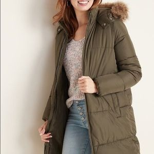 Old Navy Frost Free Hooded Long Line Puffer Jacket